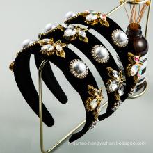 Bandeau Opaska Vintage Pearl Rhinestone Bee Headband Luxury Hair Accessories Baroque Velvet Hairband for Women Girl Dropshipping Wholesale