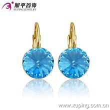 Mode élégant 14k plaqué or cristal rond Zircon bijoux boucle d'oreille Clip-29946