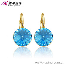 Fashion Elegant 14k Gold-Plated Round Crystal Zircon Jewelry Earring Clip-29946