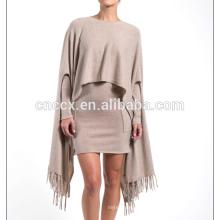 15JW0238 Frauen 100% Bambus Sommer cooler Pullover Poncho Wrap mit Quasten