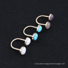 Custom Ring Jewelry Adjustable Gold Plating U Shape Double Spar Rings Unique Colorful Semicircle Opal Amethyst Rings