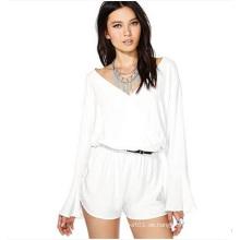 Weißer Chiffon- langer Hülsen-reizvoller Overall für Frauen und Damen Soem