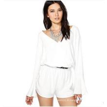 Combinaison sexy à manches longues en mousseline de soie blanche pour femme et dames OEM