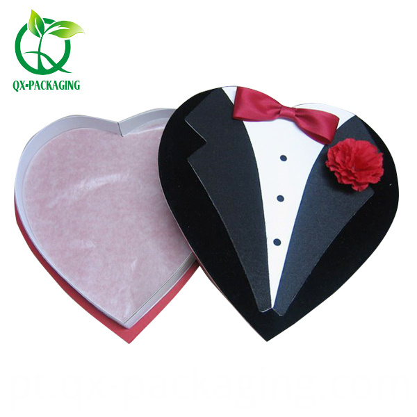 Empty heart shaped candy boxes