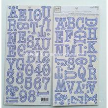 Alpha Chipboard Letters Sticker En Carton Gris