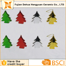 Plating Christams Tree Shape Ceramic Hanging Decoration