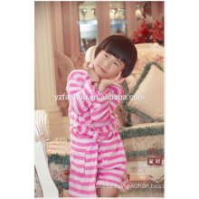 Kimono Collar Pink Stripe Printed Girls children kids Soft Warm Fleece bathrobe
