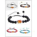 12pc/set Jewelry handmade woven Bracelets Strands adjustable turquoise Amber beaded bracelet with double crown for men and women