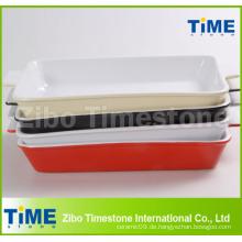 Rechteckige farbig glasierte keramische Bakeware (TM-1123)