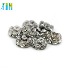 Venta al por mayor IA0204 agujero grande níquel negro plateado metal tono Crystal Rhinestone Rondelle espaciador granos