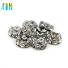 Atacado IA0204 Grande Buraco De Níquel Preto Chapeamento De Metal Tom Cristal Rhinestone Rondelle Spacer Beads