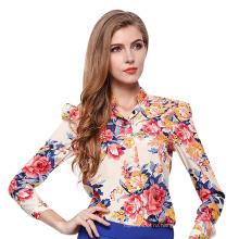 Горячий продавать дамы шифон блузки сексуальная и элегантный дизайн многоцветный печать с длинным рукавом футболка