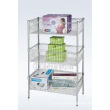 Adjustable DIY Chrome Metal Deepened Wire Basket Rack (CJ-A1207)