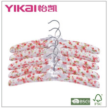 Cheap set of 5pcs cotton padded clothes hanger with rose painting