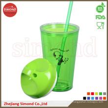 Coupe en acrylique en plastique sans colle de 650 ml avec paille (TB-B501)
