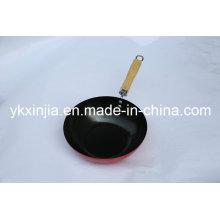 Utensilios de cocina Wok chino de acero al carbono con mango de madera