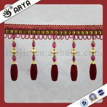 Декоративные вышитые бисером в занавесках с кристаллами для платьев