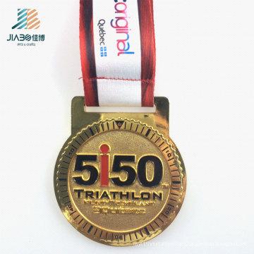 65mm Zinc Alloy Casting Custom Gold Metal Triathlon Medal with TUV Certificate