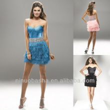 Fashionable Sweetheart Ostrich Hair Crystal Waistband Feather Mini Short Graduation Dress Homecoming Gown