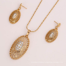 61819 fashion hot sale indian beautiful white diamond gold plated jewelry sets necklace and earring