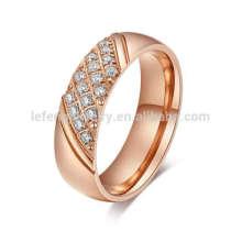 As mulheres subiram anel de ouro banda de casamento de diamante, rosa de ouro anel de topázio de jóias