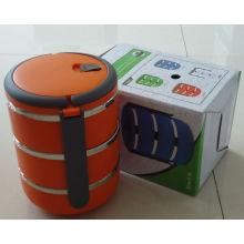 3 capas Caja de almuerzo de plástico con mango / recipiente de comida