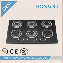 Six Burners Tempered Glass Built in Gas Hob Gas Cooker