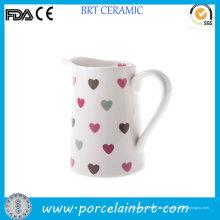 Love Hearts Bom jarro de leite cerâmico branco