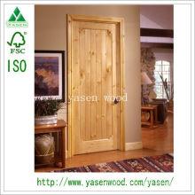 Porte en bois design moderne / porte en pin noueux