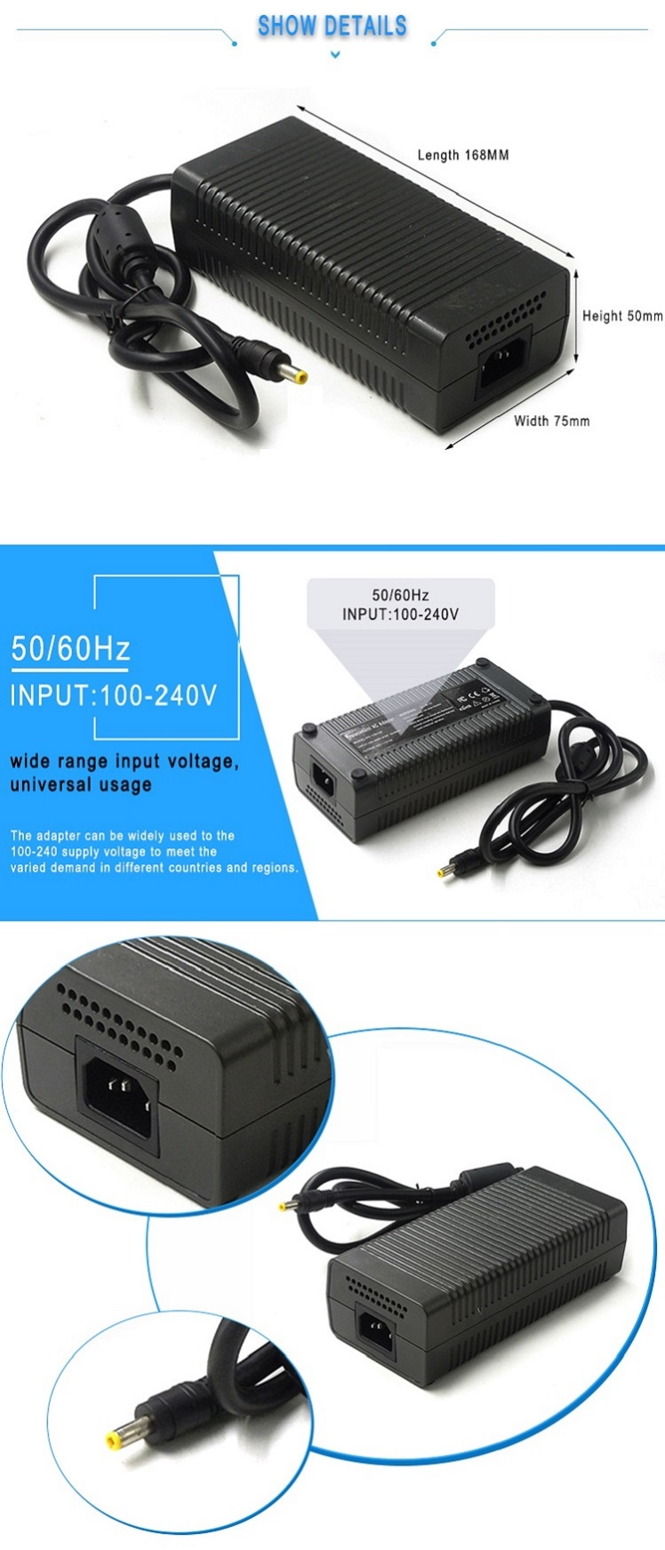 19V 9.49A 180w universal laptop charger