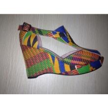 2016 afrikanischen gedruckten Stoff Peep Toe Sandale Schuhe (HCY02-1358)