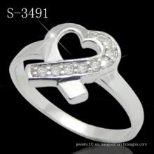 Anillo de plata de ley 925 con corazón (S-3491)