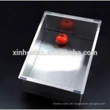 Quadratische Grad handgemachte Edelstahl SUS 304 einzelne Schüssel Küche Waschbecken
