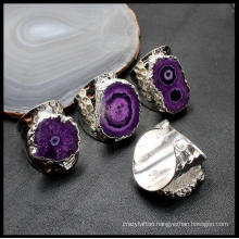 Natural Crystal Ring Sunflower Agate Rough Stone Plating Edge Opening Adjustable Hand Jewelry Inlaid Ring