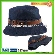 Sombrero azul del cubo de Jean con la correa de cuero para la señora BBH1264