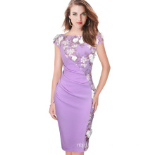 Women Office Dress Floral Printed Cap Sleeve Mother of Bride Evening Prom Dress