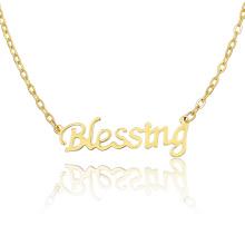 Новый Дизайн Золото Ожерелье Из Нержавеющей Стали Начальной Букве Благословение Ожерелье