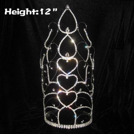 12in atacado coração de cristal em forma de coroas