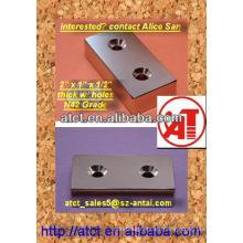Permenent neodimio bloque magnético con agujero avellanado 50.8x25.4x12.7mm N42 aceptar tornillo #8