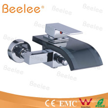 Wall Mount Waterfall Glass Bathtub Faucet Shower Mixer Qh0822wb