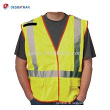 Günstige Fluo Gelb 100% Polyester Mesh Hallo Vis Workwear Reflektierende Weste Taschen Mit Reißverschluss Und Reflexstreifen EN471 Klasse 2