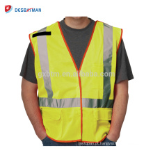 Barato Fluo Amarelo 100% Poliéster Malha Oi Vis Workwear Reflective Vest Bolsos Com Zíper E Fitas Reflexivas EN471 Classe 2