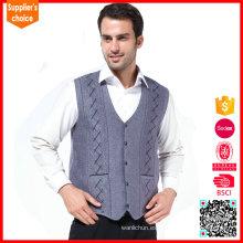 Clásico sólido varón algodón trabajo hombres suéter chaleco chaleco patrón que hace punto