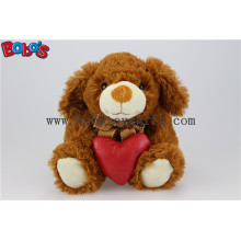 Dark Brown Plush Stuffed Dog Animals with Red Heart Pillow Bos1151