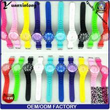 Yxl-348 2016 New Fashion Genevn Ice Silicone Watch Quartz Analog Wrist Watch Vogue Candy Color Flag Dial