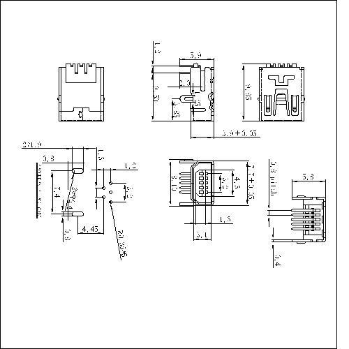 NUFR03 3 MINI USB 5F 90°AB Type Two Legs
