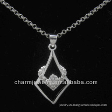 Lovely silver pendant with clear CZ crystal PSS-020