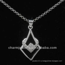 Прекрасный серебристый кулон с прозрачным кристаллом CZ PSS-020