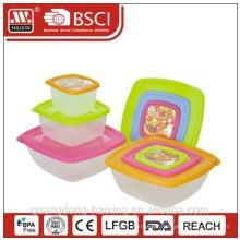 Comida de plástico cuadrado contenedor 0.2L/0.6L/1.3L(3pcs)