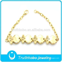 TKB-JB0009 Fashionable gold 316L stainless steel bracelets & bangles with artifical diamond Chubby little bear
